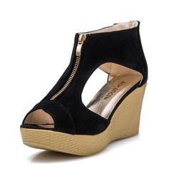 Women's Suede Wedge Heel Sandals Pumps Platform Wedges Peep Toe With Zipper shoes (116151014)