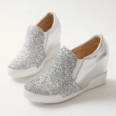Women's Sparkling Glitter PU Wedge Heel Closed Toe Wedges shoes