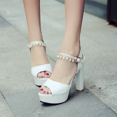 Women's Leatherette Stiletto Heel Sandals Pumps Platform Peep Toe With Rhinestone Imitation Pearl Buckle shoes