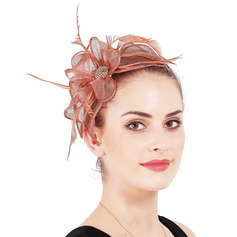 Ladies' Glamourous/Elegant Cambric With Feather/Rhinestone Fascinators/Kentucky Derby Hats
