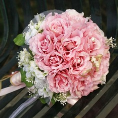 Attractive Round Satin Bridal Bouquets