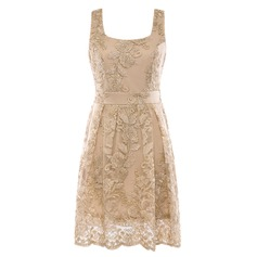Polyester With Lace Knee Length Dress (199165884)