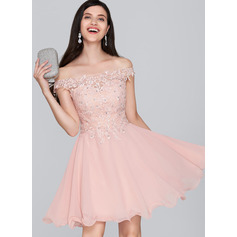 A-Line Off-the-Shoulder Short/Mini Chiffon Homecoming Dress With Beading Sequins (300244095)