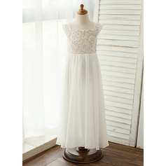 A-Line/Princess Floor-length Flower Girl Dress - Chiffon/Lace Sleeveless Square Neckline With Lace/Appliques