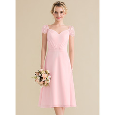 A-Line Sweetheart Knee-Length Chiffon Lace Bridesmaid Dress With Ruffle