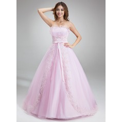 Ball-Gown Scalloped Neck Chapel Train Tulle Prom Dresses With Ruffle Beading Appliques Lace