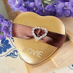 """Love"" Heart-shaped Favor Tins and Pails With Ribbons/Rhinestone"