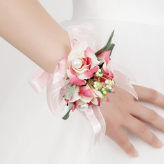 Lovely Free-Form Satin/Cotton Wrist Corsage