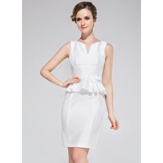 Sheath/Column Scoop Neck Short/Mini Taffeta Cocktail Dress With Bow(s)
