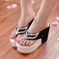 Women's Suede Wedge Heel Sandals Wedges Slippers With Rhinestone shoes