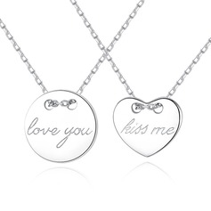 Personalized Couples' Eternal Love 925 Sterling Silver With Round Engraved Necklaces Necklaces For Bride/For Couple