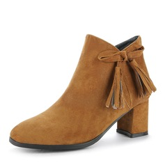 Women's Suede Chunky Heel Pumps Closed Toe Boots Ankle Boots With Bowknot Zipper shoes