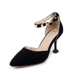 Women's Suede Stiletto Heel Sandals Pumps With Imitation Pearl shoes