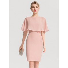 Sheath/Column Scoop Neck Knee-Length Chiffon Cocktail Dress With Cascading Ruffles (270194103)