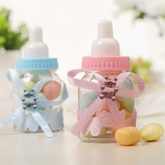 Creative Bottle shaped Plastic Candy Jars and Bottles With Ribbons