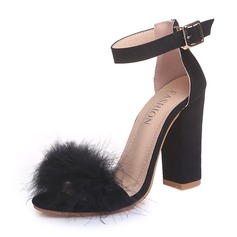 Women's Suede Chunky Heel Sandals Pumps With Fur shoes (087154155)