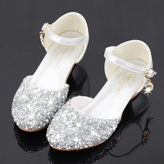Pigens Round Toe funklende glitter Flower Girl Shoes med Crystal (207224862)