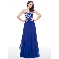 A-Line/Princess Sweetheart Floor-Length Chiffon Lace Prom Dress With Lace Cascading Ruffles