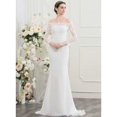 Sheath/Column Off-the-Shoulder Sweep Train Chiffon Wedding Dress With Ruffle Beading Sequins
