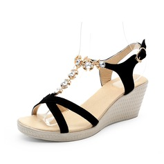 Women's Real Leather Wedge Heel Sandals Slingbacks With Rhinestone shoes