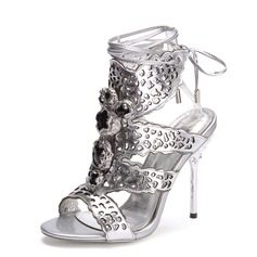 Real Leather Stiletto Heel Sandals Slingbacks With Rhinestone shoes