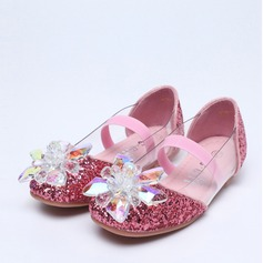 Girl's Round Toe Mary Jane Sparkling Glitter Flat Heel Flats Flower Girl Shoes With Sparkling Glitter Crystal