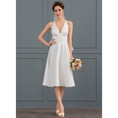 V-neck Knee-Length Satin Wedding Dress (265193329)