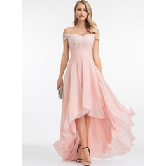 Off-the-Shoulder Asymmetrical Chiffon Evening Dress With Sequins (271229404)