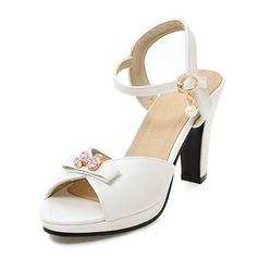 Frauen Kunstleder Stöckel Absatz Sandalen Absatzschuhe Plateauschuh Peep Toe Slingpumps mit Bowknot Nachahmungen von Perlen Schnalle Schuhe
