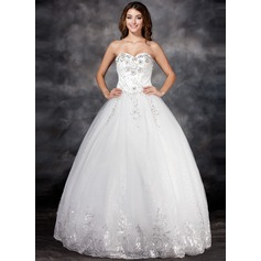 Ball-Gown Sweetheart Floor-Length Tulle Wedding Dress With Lace Beading Flower(s) Sequins