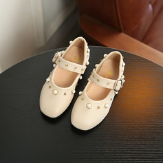 Jentas Leather Sandaler Flower Girl Shoes med Perle