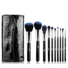 Artificial Fibre Fashion 10Pcs Black PU Bag Makeup Supply
