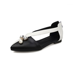 Women's Leatherette Flat Heel Flats Closed Toe With Crystal Imitation Pearl shoes