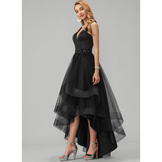 A-Line V-neck Asymmetrical Tulle Homecoming Dress With Beading Sequins