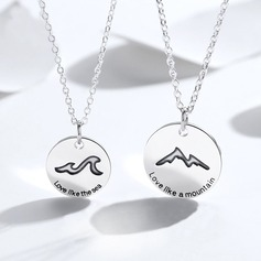 Personalized Couples' Attractive 925 Sterling Silver With Round Engraved Necklaces Necklaces For Bridesmaid/For Friends/For Couple