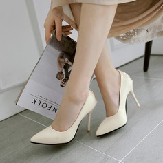 Women's Patent Leather Stiletto Heel Pumps Closed Toe With Beading shoes