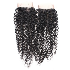 "3A 4""*4"" Curly Mid-Length Long Human Hair Closure (Sold in a single piece) 100g"