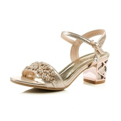 Leatherette Chunky Heel Sandals Peep Toe Slingbacks With Rhinestone Buckle shoes (087066542)