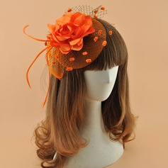 Damer' Elegant polyester med Fjäder Fascinators/Tea Party Hattar