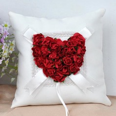 Elegant Rose Ring Pillow in Cloth With Flowers