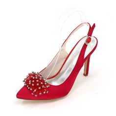 Women's Satin Stiletto Heel Closed Toe Pumps Sandals With Rhinestone
