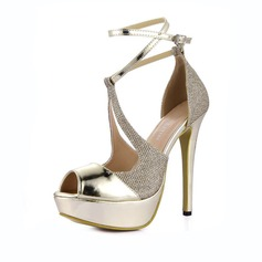 Women's Patent Leather Stiletto Heel Sandals Platform Peep Toe With Buckle Split Joint shoes