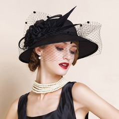 Ladies' Romantic/Vintage/Artistic Cambric With Tulle Fascinators/Kentucky Derby Hats/Tea Party Hats