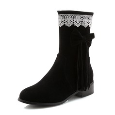 Women's Suede Low Heel Closed Toe Boots Mid-Calf Boots With Bowknot Tassel shoes
