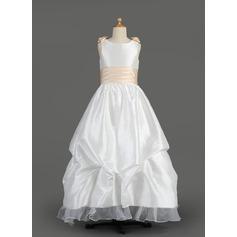 A-Line/Princess Floor-length Flower Girl Dress - Taffeta/Organza Sleeveless Scoop Neck With Sash/Flower(s)/Bow(s)/Pick Up Skirt