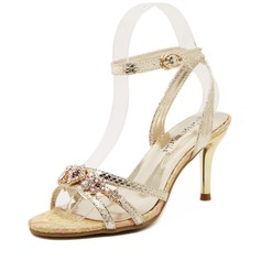Women's Leatherette Stiletto Heel Sandals Pumps Peep Toe With Rhinestone shoes (087066427)