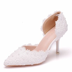 Women's Leatherette Spool Heel Closed Toe Pumps With Applique