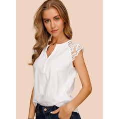 Cap Sleeve Cotton V Neck Blouses (1003223655)
