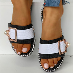 Women's PVC Flat Heel Slippers With Buckle shoes (087236317)