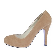 Suede Stiletto Heel Pumps Platform Closed Toe shoes (085059858)